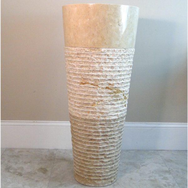 Contemporary Modern Ridged Marble Stone Cone Pedestal Sink, Danish, Swedish