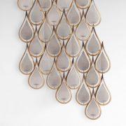 Danish Modern Tear Drop Wall Art Glass and Gold Aged Metal Pillar Candle Fixture