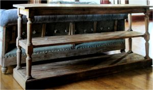 Chesterfield Aged Pine Reclaimed Wood Three Tier Behind Couch Table