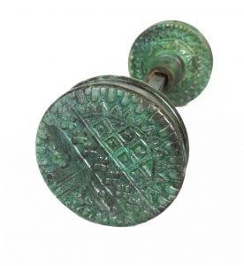 Vintage Eastlake Victorian Arts and Crafts Style Tiffany Green Door Knob Pair