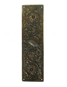 Parrot Bird Push Plate Door Hardware Vintage Restoration Replica Aged Bronze