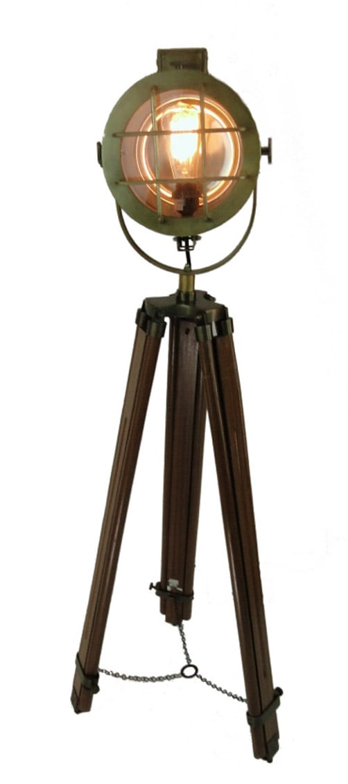 Tall Movie Tripod Light Post W Br Finish Spot Floor Lamp Vintage Old Style The Kings Bay