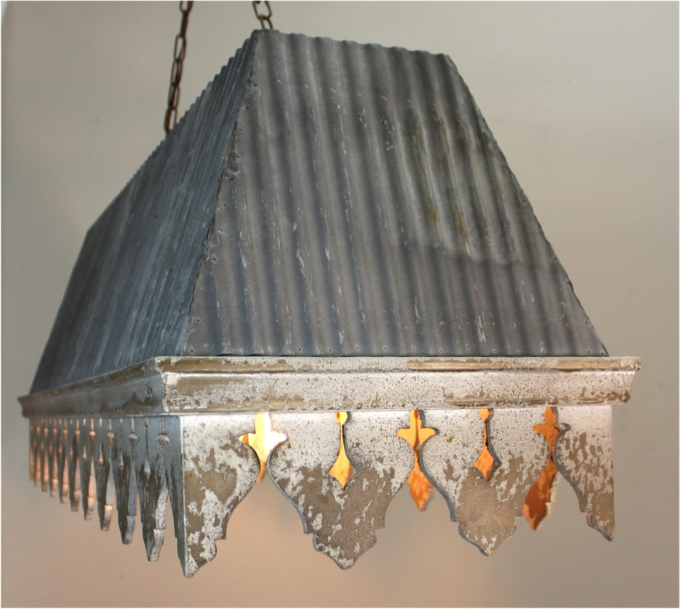 Galvanized tin roof chandelier with rust ribbed antique style galvanized tin roof chandelier with rust ribbed antique style building parts arubaitofo Choice Image