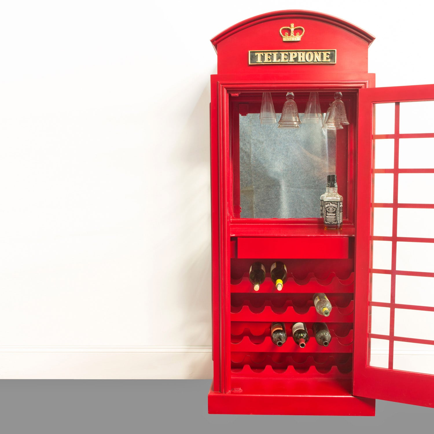 Red British Phone Booth Wood Wine Bar Cabinet Old Cast