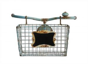 Bicycle Iron Bike Shaped Wall Décor Basket with Chalk Sign Vintage Style