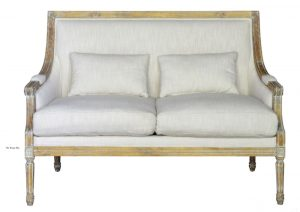 Settee Couch with Linen Cover Fabric and Aged Birch Wood Trim