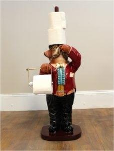 Dog Boxer Butler Toilet Paper Holder Holding Nose Bathroom Fixture Extra Roll