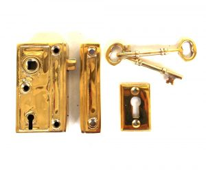 Mini Brass Rim Lock Screen Door or Bathroom Home Decor Privacy Set