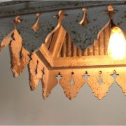 Galvanized Tin Roof Chandelier with Rust Ribbed Antique Style Building Parts