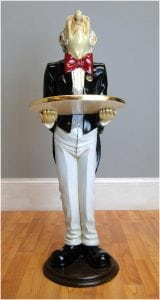 Snobby Butler Statue 3′ Wine Waiter with Gold Leaf Tray in Tuxedo Restaurant Bar