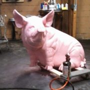 GIANT Metal PIG SCULPTURE Black Pink Wilbur Color Choice is Yours Statue Big