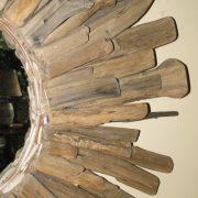 Aged Round Driftwood Mirror by Nature Starburst Beach, Nautical 28″