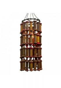 Antique Industrial Wooden Spool Chandelier Hand Made One of a Kind