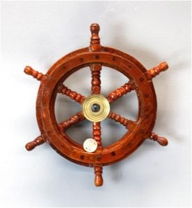 9″ Ship's Steering Wheel Wood Antique Style Teak Brass Nautical Home Furniture