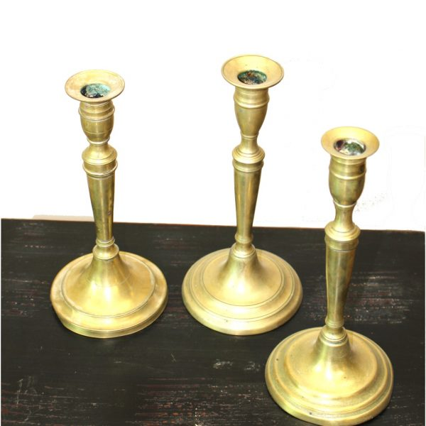 Antique Solid Brass Hand Made Early Candlesticks Set of Three Turn of Century