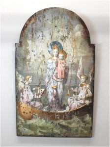 Wood Wall Art with Virgin Mary and Angels/Cherubs in Antique Vintage Style