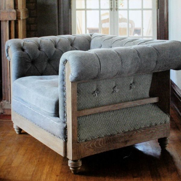 Gray Oversize Hotel Chesterfield Side Club Chair