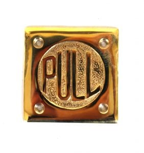 Small PULL Door Plate Sign Polished Brass Vintage Style Old Fashioned Letters