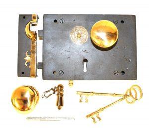 Wrought Iron Left Hand Carpenters Rim Lock Old Restoration Hardware Brass Knobs