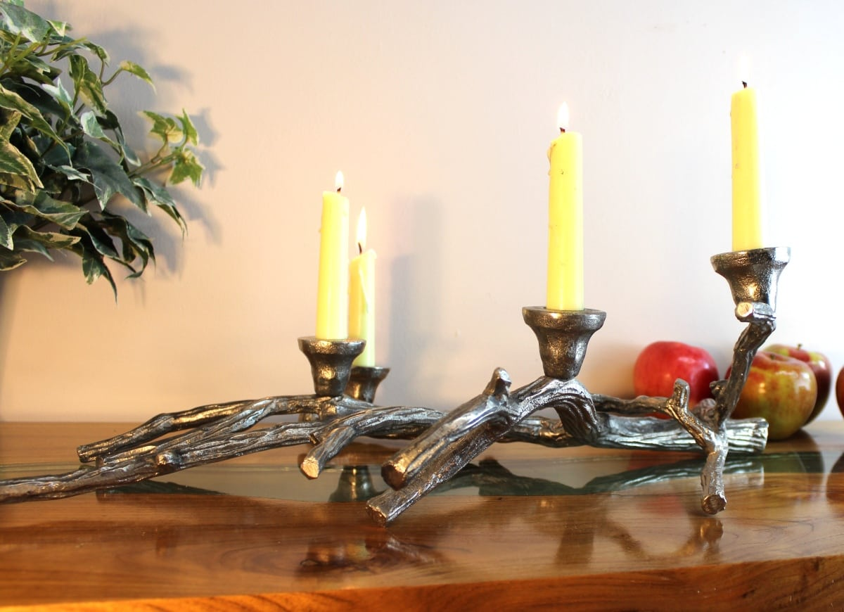 Candelabra Candle Holders Ivory White Vine 3 Metal