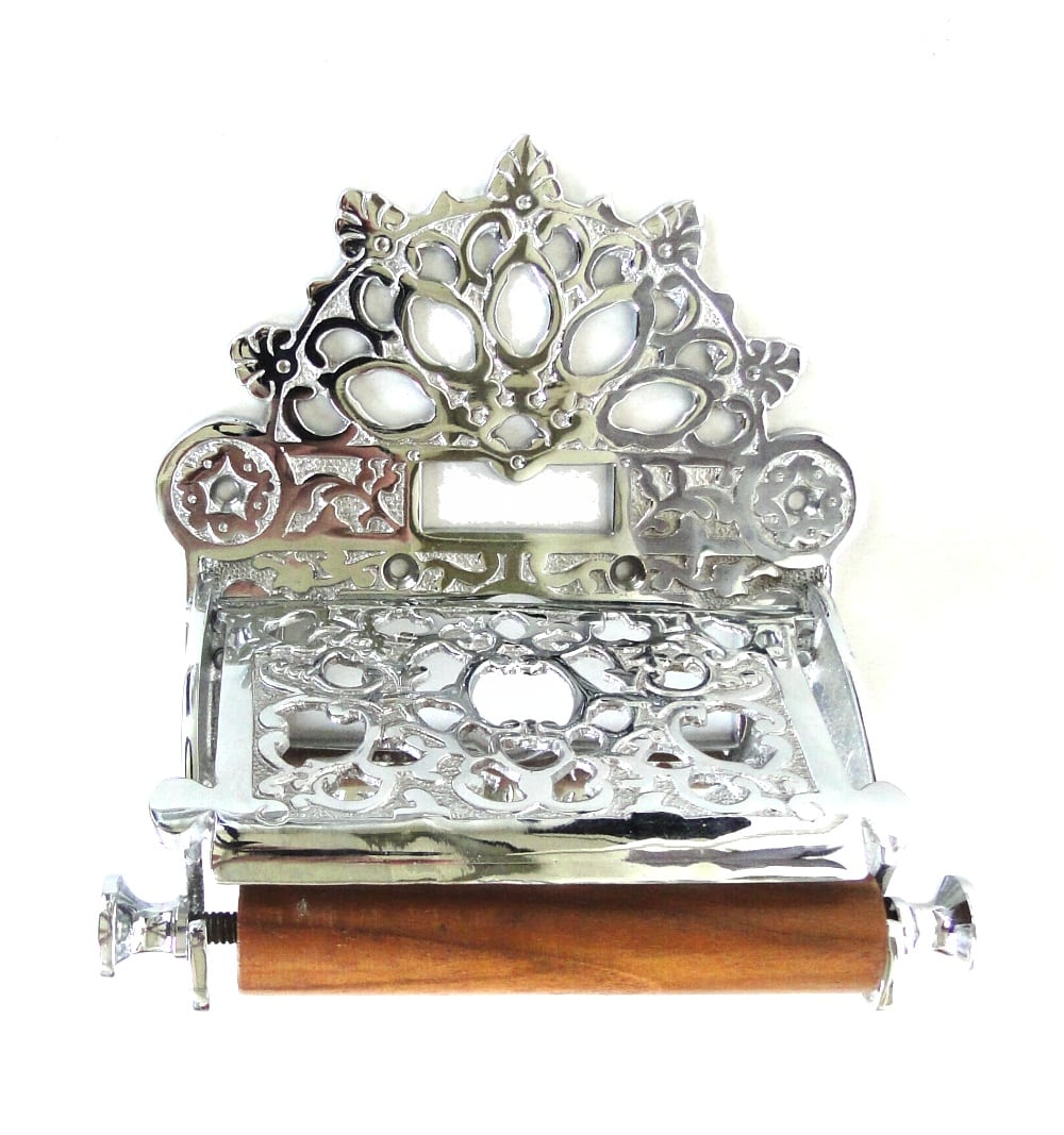 French Chrome Wall Toilet Paper Holder With Fan Crown Top Vintage Style The Kings Bay