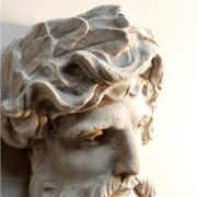 Mighty Hercules Wall Bust Sculpture Faux Marble Stone Old Finish