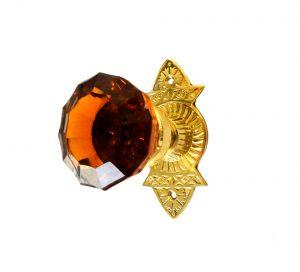 Victorian Reproduction Door Hardware Passage Set Amber Glass Knobs Frisco