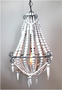 Medium White Wood Beaded Chandelier Old Country French Style Wooden Beads