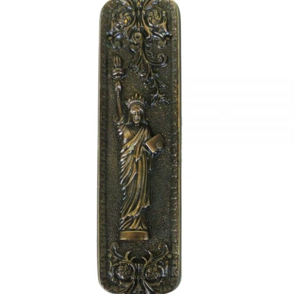 Antique Push Plate Statue of Liberty Bronze Door Hardware Vintage Restoration Replica