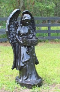 Majestic Angel Girl with Lovely Wings and a Weaved Basket for Flowers 3′ Bronze