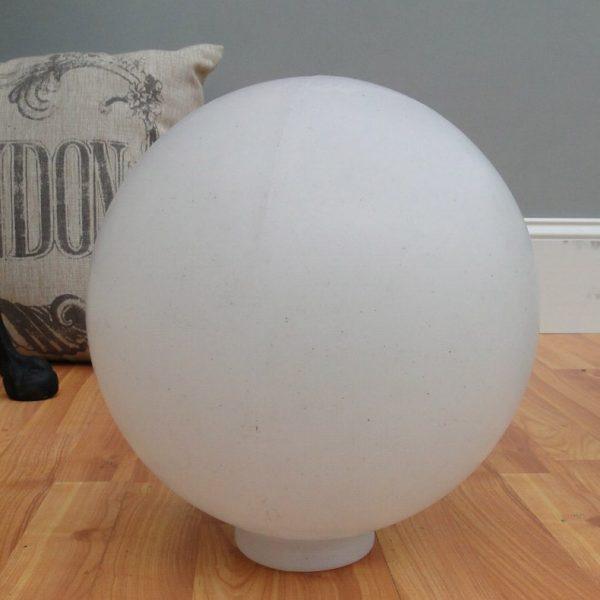 Big White Plastic Ball Outdoor Shade Light Fixture Round 10″ Dia 4″ Fitter Globe