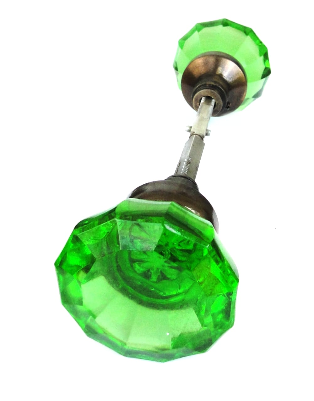 Door Knob GREEN Glass AGED Brass (Pair) Vintage Style New Replica ...