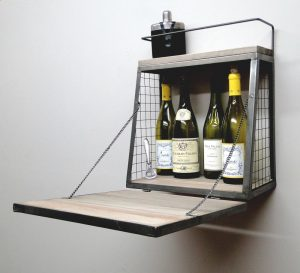 Aged Wood and Metal Wall Mounted Bar with Fold Out Down Shelf