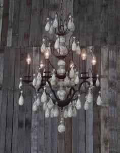 Stunning Hand Crafted Wood and Iron Chandelier Large Beaded Light Fixture