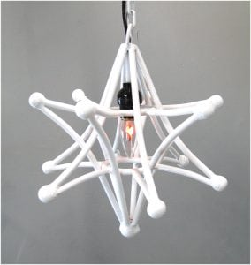 Shooting Star Pendant Light Fixture With Chain and Black Cloth Wire 12″