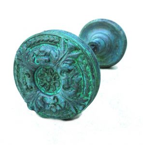 Vintage Brass Swirl Door Knobs Big Victorian Arts and Crafts TIFFANY Aged Pair