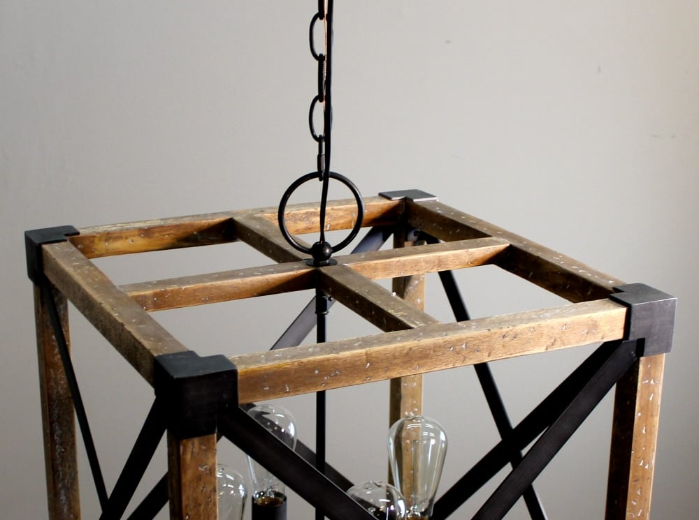 Square Wood And Iron Pendant Chandelier, Square Metal And Wood Chandelier