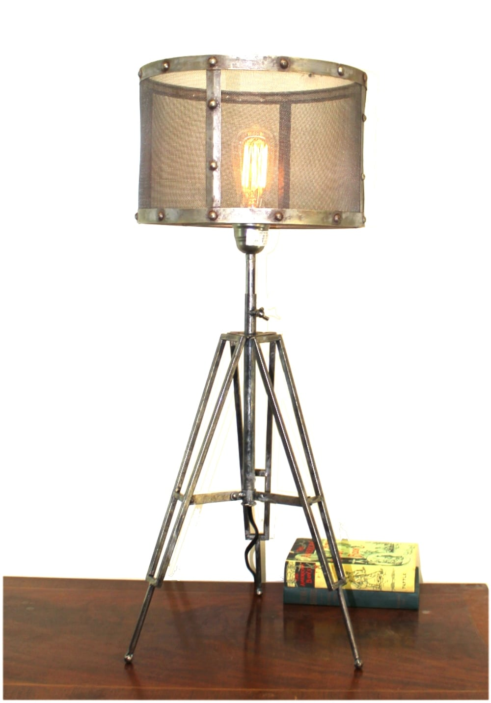 Tripod Table Lamp With Wire Mesh Aged Metal Shade