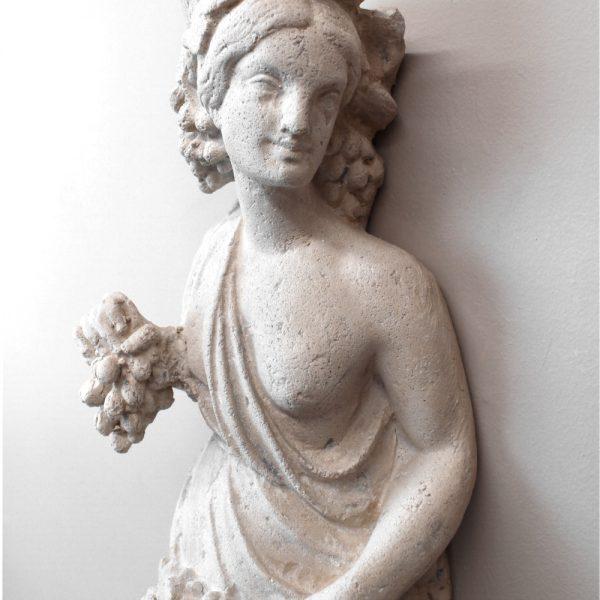Roman or Greek Goddess Wall Mounted Sculpture Statue Art w Grapes Angel Cherub