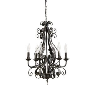 Acanthus Leaf French Country Chandelier w Black & White Aged Finish Painted