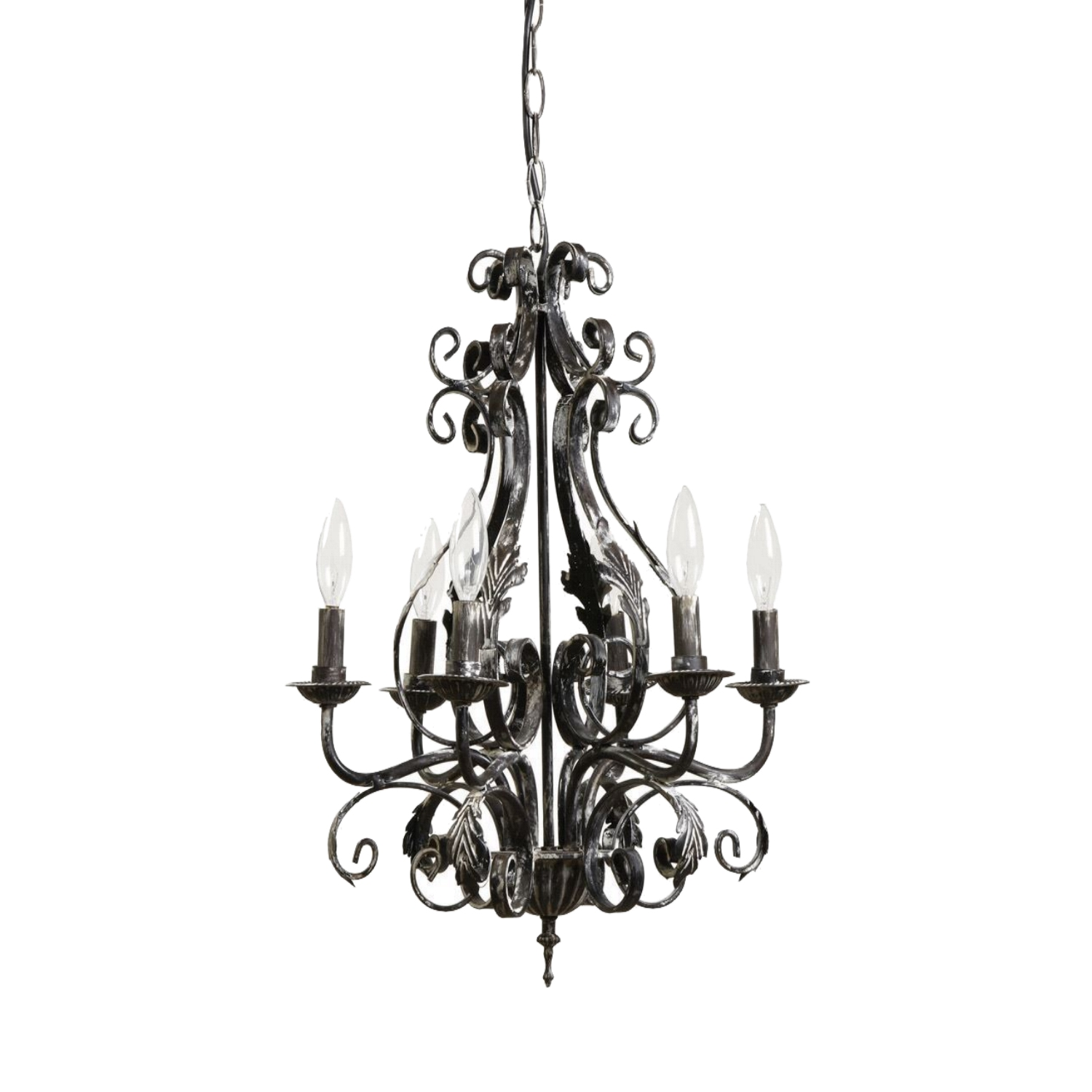 Acanthus leaf french country chandelier w black white aged acanthus leaf french country chandelier w black white aged finish painted aloadofball Image collections