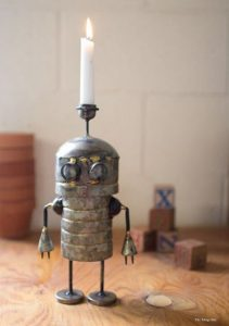 Galvanized Tin Robot Candle Holder Hand Crafted Adorable Gift