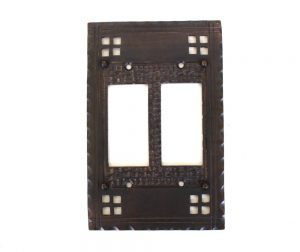 Arts and Crafts – Mission Oil Rubbed Bronze – Brass Double Rocker Switch Plate