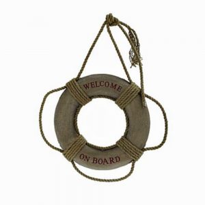 Welcome on Board Life Preserver Wall Art Canvas Hemp Rope Aged Finish