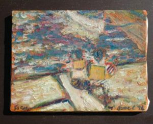 Impasto OIL PAINTING of Boys in Boat, Outsider Art, Old Nautical, Canvas Stretcher