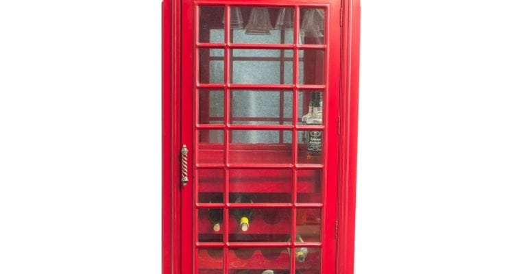 Red British Phone Booth Wood Wine Bar Cabinet Old Cast Iron Looking England 72″