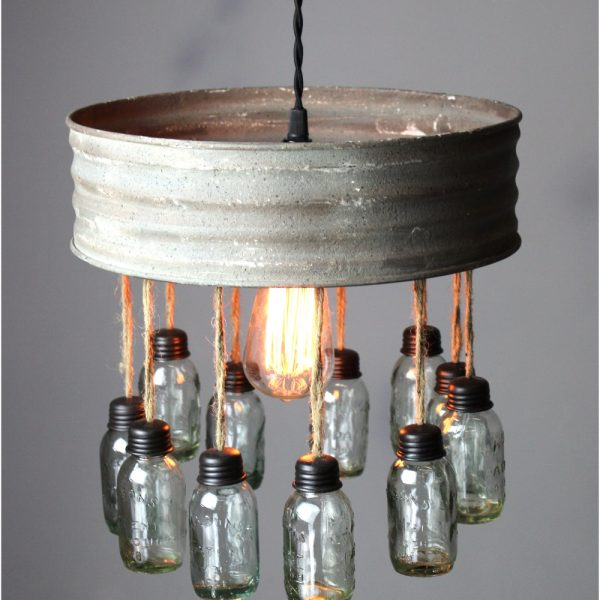 Pendant Chandelier With Aged Round Metal Rim and Tiny Hanging Mason Jars