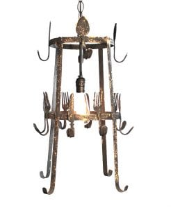 Rusted Spoon Fork and Knife Pendant Light Fixture Aged Black Shabby Chic