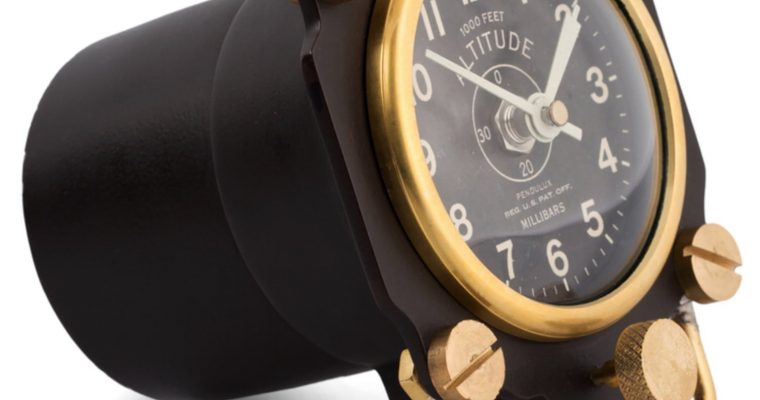 Aviator 1930's Altimeter Table Clock Army Air Corp Replica