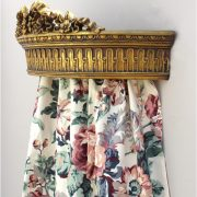 Gold Leaf Teester With Ribbons & Bows Bed Door Window Drapery Hardware